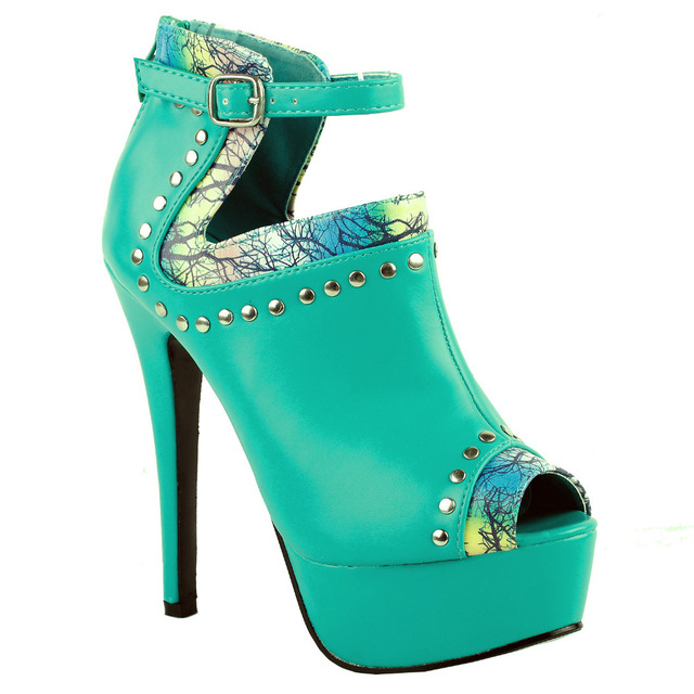 aeed72f7fe8f7 LF80106 Sexy Aqua Peep-toe Stud Platform Stiletto Heel Boot Sandals Size 4 5  6 7 8 9 10