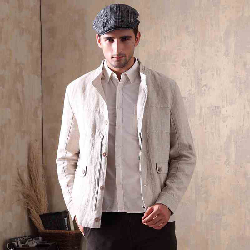 Casual Suit Blazers Jacket Linen Long-Sleeve Male Single-Breasted New for Men Outwear
