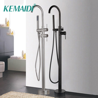 KEMAIDI Newly Free Standing Bathtub Bathroom Faucet Chrome Polish Shower Bath Mount Floor Bathtub Faucet Mixer with Hand Shower