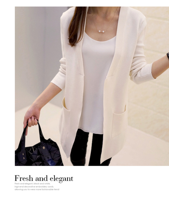 New High Quality Women Spring Autumn Medium-long Cardigan 2016 New female elegant pocket Knitted Outerwear Sweater Cape Top