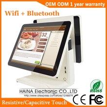 Monitor LCD de pantalla táctil capacitiva de 15 pulgadas, sistema POS para restaurante, máquina POS de pantalla Dual