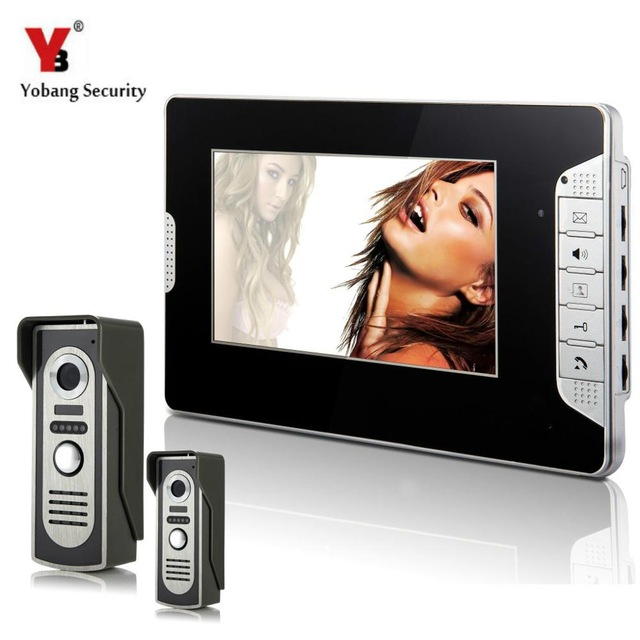YobangSecurity 7 Inch Monitor Video Doorbell Phone Video Door Night Vision Camera Monitor Security System 2 Camera 1 Monitor. yobangsecurity home security 7inch monitor video doorbell door phone video intercom night vision 1 camera 1 monitor system