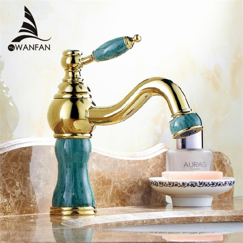 Free Shipping Single Handle Free Ship Polished Golden Bathroom Deck Mounted Faucet Basin Brass Sink Mixer Tap MS-6515K polished chrome deck mounted bathroom kitchen faucet tap single handle with brass soap dispenser