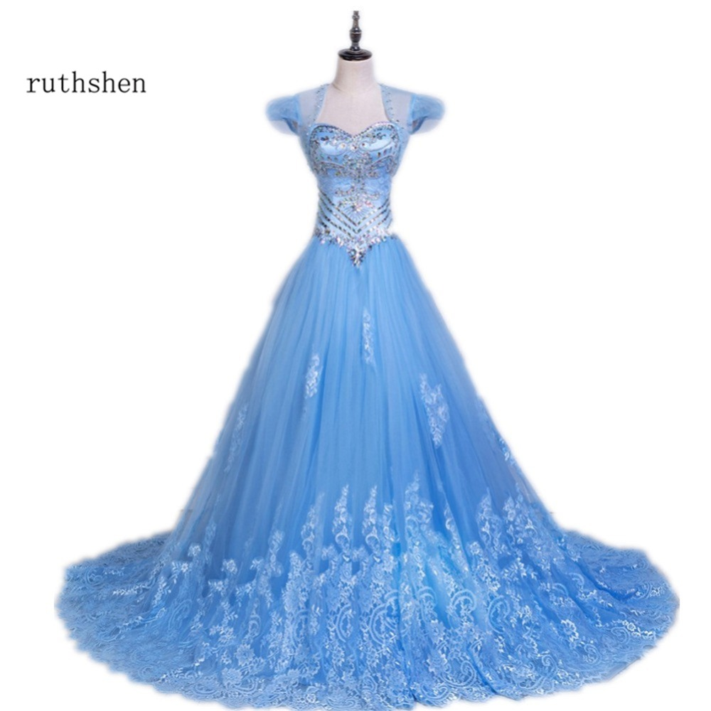 ruthshen Light Blue Sweet 16 Quinceanera Dresses With Jacket Beaded ...