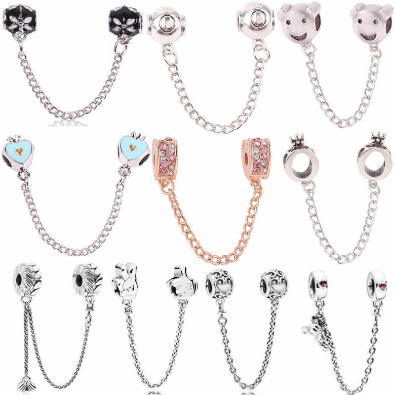 Fit Women Pandora Bracelet Bangle DIY Jewelry Silver Bead Charm Star Love Heart Mickey Safety Chain Rose Gold Bead