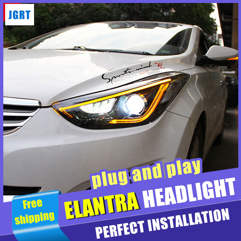 Car styling For Hyundai Elantra MD LED headlight assembly 2013-2016 head lamp led H7 with hid kit LED DAYTIME LIGHT 2 pcs ветровики korea hyundai elantra 2013 avante md 2013