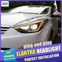 Car styling For Hyundai Elantra MD LED headlight assembly 2013 2016 head lamp led H7 with hid kit LED DAYTIME LIGHT 2 pcs