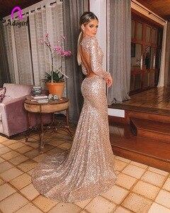 Image 2 - エレガントなロングローズゴールドスパンコールイブニングパーティードレス Vestido デ · フェスタローブ長袖ドレスフォーマルパーティードレス反射ドレス