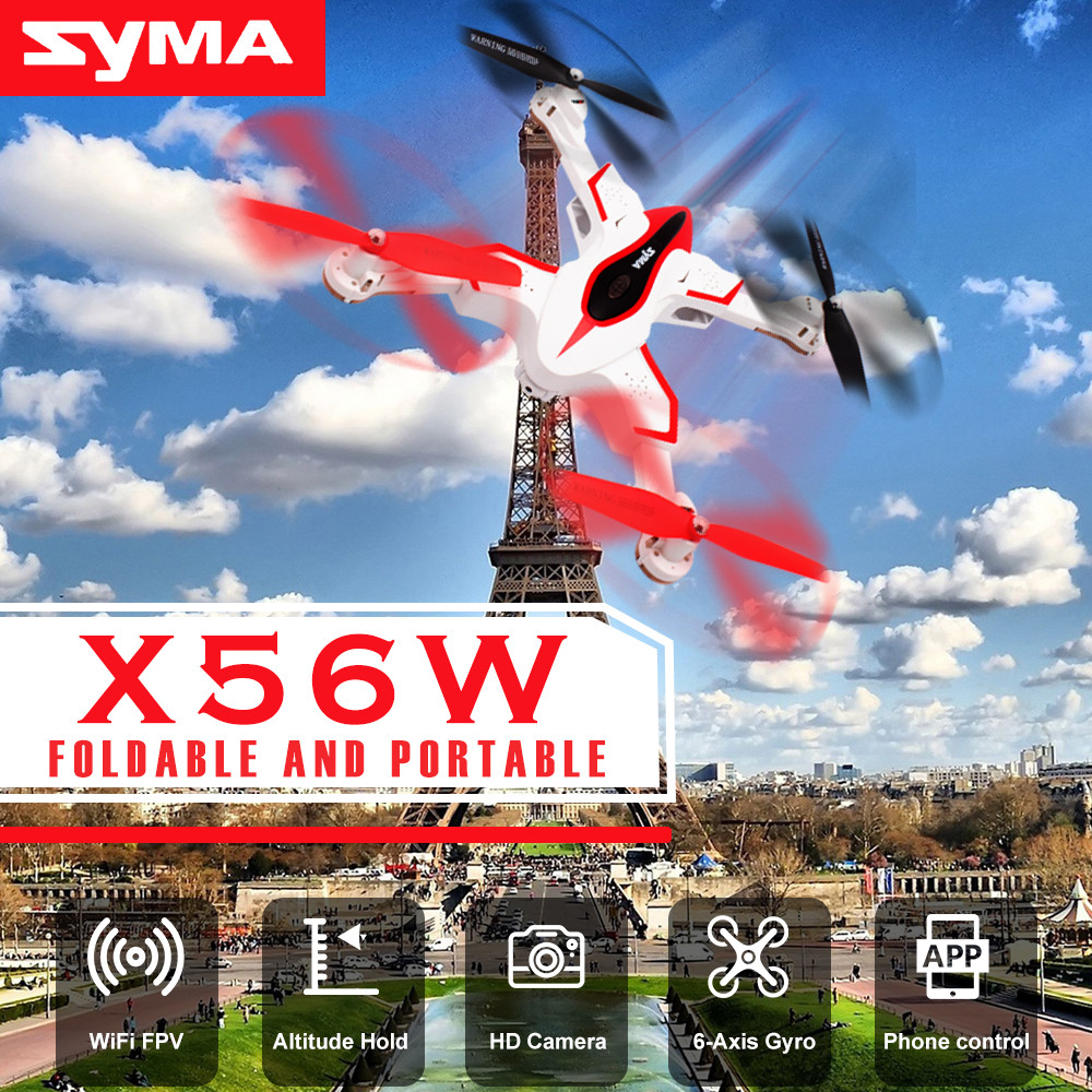 Original SYMA X56W RC Helicopter 2.4G 4CH 6-Axis Remote Control Quadcopter Drone with HD Camera Long Flying Time Model Gift Toy syma x8c rc helicopter mini drone with camera selfie hd fpv quadcopter 4 channel aerial remote control aircraft uav drones toy