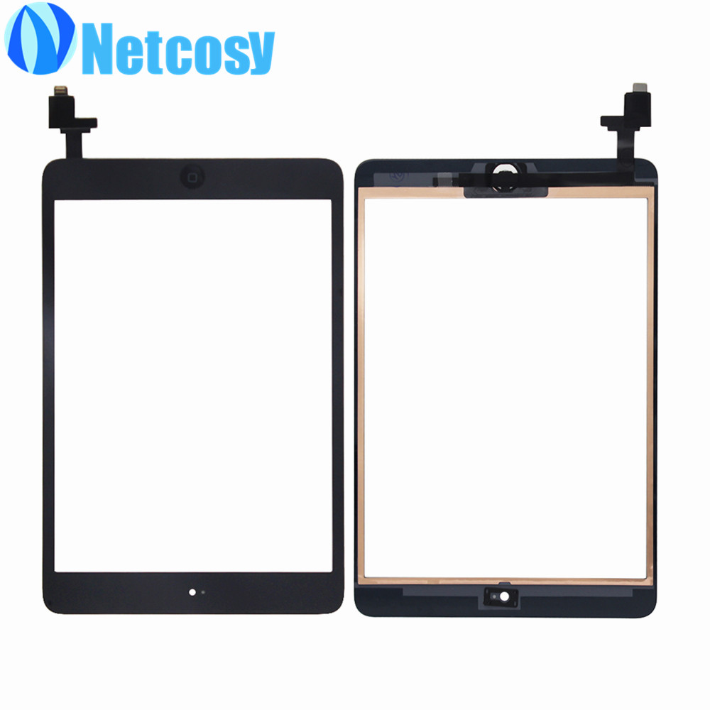For ipad Mini 1 / 2 Touch Glass Screen Digitizer Home Button Assembly with IC conector replecement For ipad mini 1 2 touchscreen new touch panel for ipad air 1 ipad 5 touch screen digitizer flex cable front glass assembly adhesive with home button t0 3
