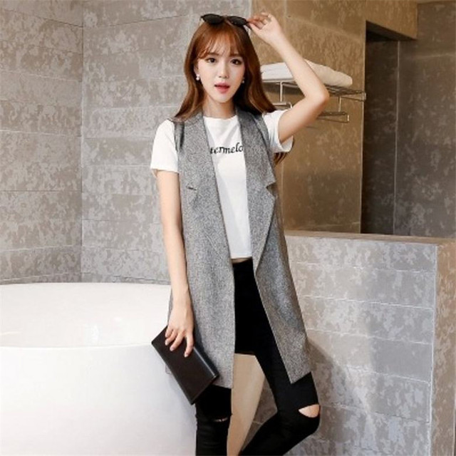 Spring Fashion Slim Coats Solid None-Button Long Waistcoat Sleeveless Blazer Lapel Jacket Vest Women Vests