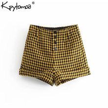 Vintage Chic Pockets Houndstooth Shorts Women 2018 Fashion Buttons Fly Streetwear Plaid Short Trousers Casual Pantalones Cortos