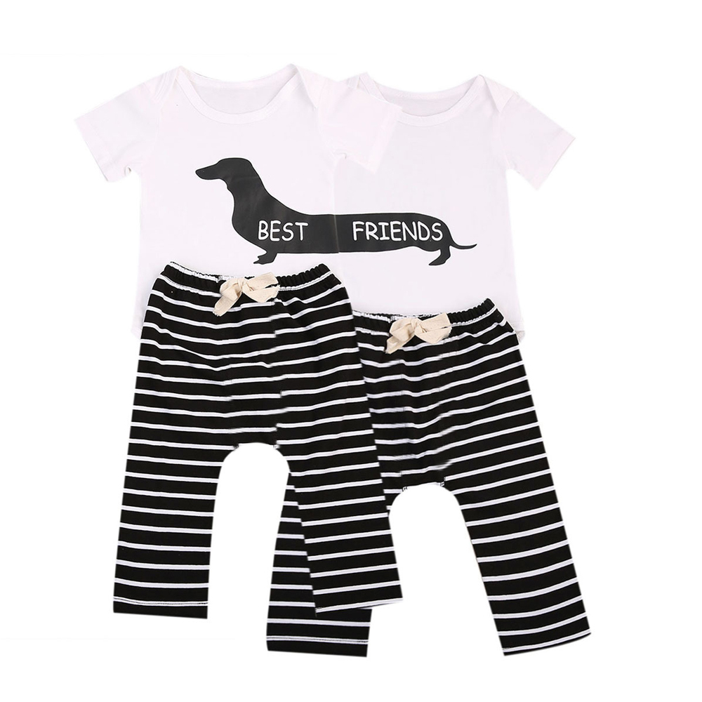 Tem Doge 2Pcs Infant Twins Baby Girl Boy Best Friends Short Sleeve Romper+Striped Pants Outfit Clothes