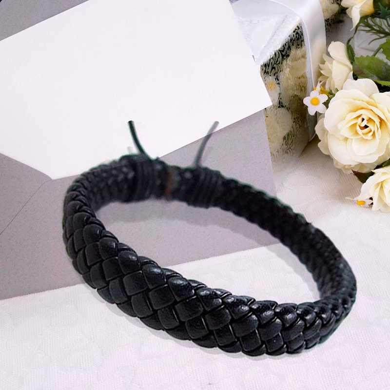 1 piezas Punk negro/marrón/blanco/amarillo trenzado de cuero pulsera brazalete de Hombre Accesorios para hombre joyería de Color negro pulseras de cuero