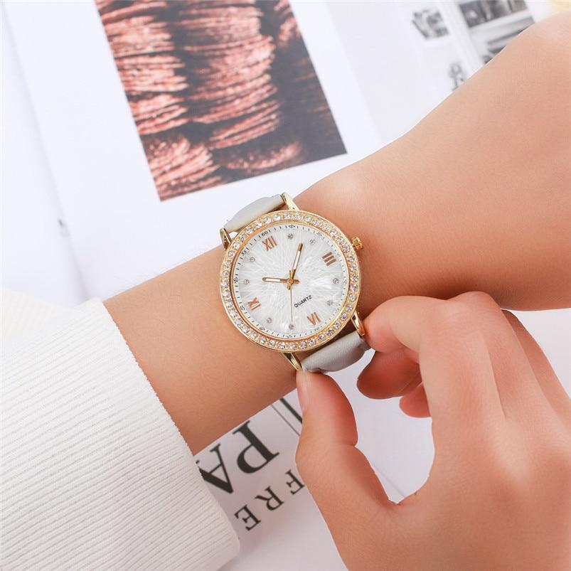 Women Casual Leather strap Rhinestone women Watch Bracelet Clock Quartz Wristwatch Montre Femme Reloj Mujer 5N montre femme watch woman pu leather quicksand rhinestone quartz watch bracelet watches ladies wristwatch discount reloj mujer