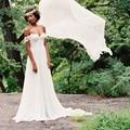 Sexy Off Shoulder Bohemian Wedding Dresses Pleat Appliques Chiffon Beach Bridal Gowns 2017 Vestidos de Novia