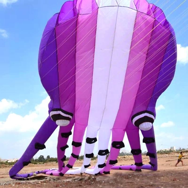 Trasporto libero di cristallo viola polpo aquilone fabbrica ripstop nylon morbido kite linea passeggiata nel cielo aquiloni per adulti 3d aquilone fabbrica