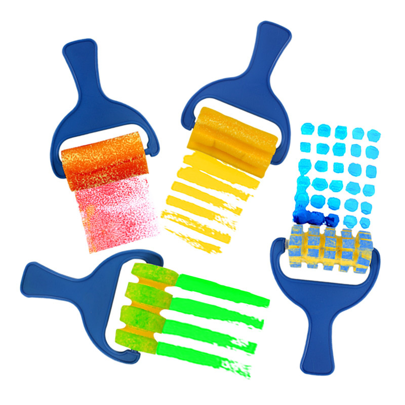 4pcs/Set Sponge Roller Brush Kids Painting Graffiti Brush Tool Different Patterns Drawing Toys Montessori Educational Toys Gift