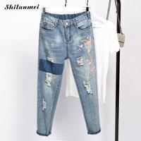 Plus Size 5XL Women Stretch High Waist Skinny Embroidery Jeans Ripped Floral Holes Distressed Denim Pants Trousers Women Jeans