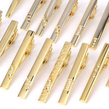 Nowy krawat klipy męskie metalowy krawat Bar kryształowe ubranie koszule spinka do krawata na ślub ceremonia Metal złoty krawat klip człowiek akcesoria tanie tanio Moda Tie klipów i spinki do mankietów Klasyczny Mężczyźni Ze stopu miedzi LDJ37 Plac Symulowane perłowej