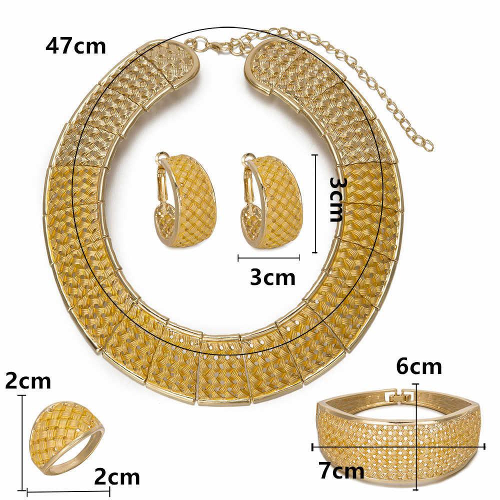 BAUS 2018 kualitas besar Kalung Dubai Perhiasan Emas African Set perempuan Pernikahan Jewelry Set Party Fashion perhiasan Pengantin mewah set