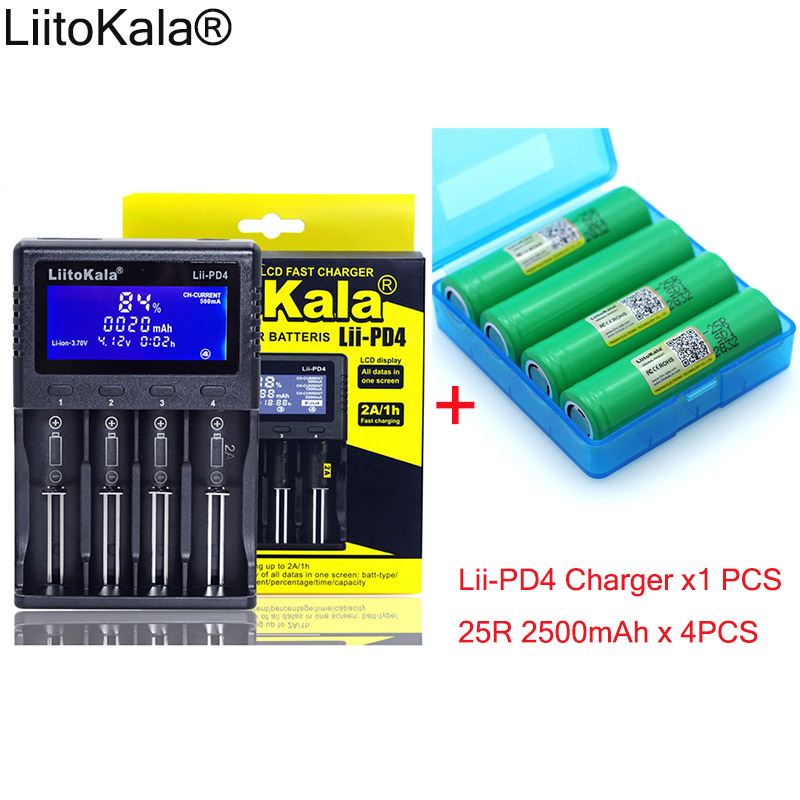 1pcs New LiitoKala lii-PD4 LCD 3.7V 18650 21700 battery Charger+ 4pcs 3.6V 18650 INR18650-25R 2500mAh Rechargeable battery 1pcs 10pcs liitokala new dbhe41865 2500mah he4 lithium battery 18650 3 7v power electronic batteries 20a discharge for lg