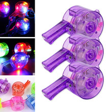 Random Color Flashing Whistle Colorful Lanyard LED Light Up Fun In the Dark Party Rave Kid Child Christmas Gift