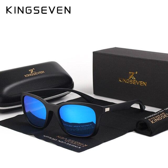 KINGSEVEN 2017 Classic Fashion Polarized Black Sunglasses Men Eyewear For Driving Fishing Square Sun Glasses With Box Gafas