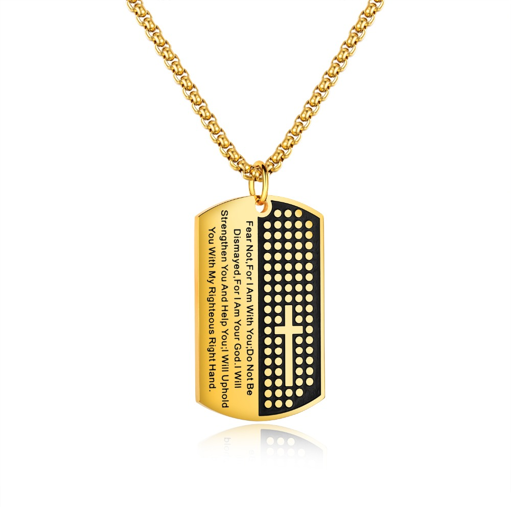 Men Necklace Stainless Steel Cross Pendants & Necklaces White/Gold Square Religious Jewelry Christmas Gift Drop Shipping GX1428