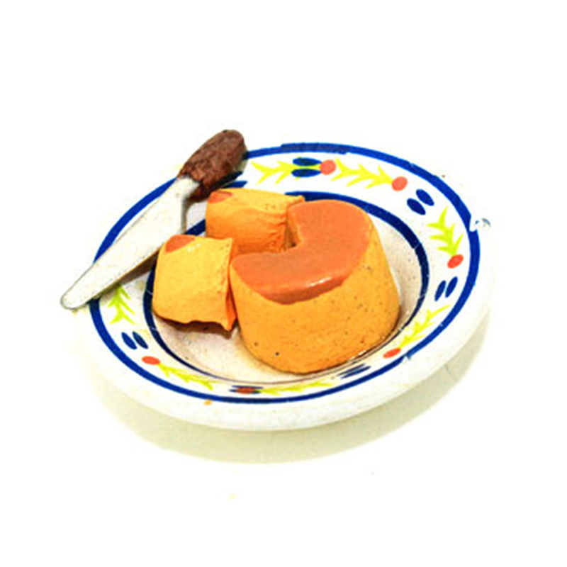 2Pcs/Set 1/12 Scale Miniature Cheese Cake Dollhouse Pretend Food Miniature  Set For Children Toy For Dollhouse Decor Toys