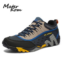 Outdoor Genuine Leather Men Hiking Shoes Waterproof Mountain