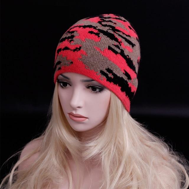 2016 de La Personalidad de camuflaje Unisex gorro de lana para hacer punto Doble caliente Gorros sombreros de Moda Women & Men Super fashion calle caps