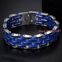 Classic Design Punk 316L Stainless Steel Bracelet Jewelry Female Biker Blue Silicone Bicycle Motorcycle Chain For