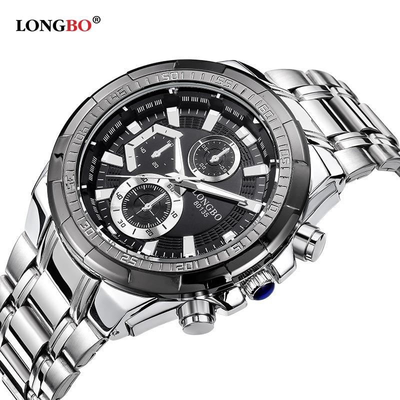 Longbo Brand Fashion Men's Full Stainless Steel Military Casual Sport Watch Waterproof Relogio Masculino Quartz Wristwatch Sale