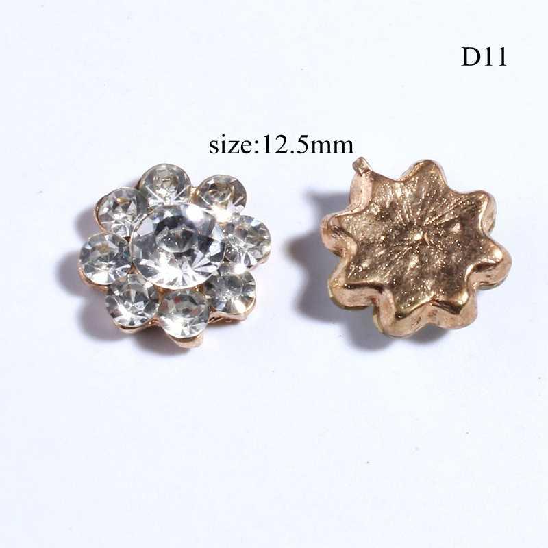 10 pièces 12.5 MM ronde neige en forme de strass boutons pour vêtements argent cristal boutons pour Invitation de mariage