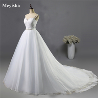 ZJ9023 2016 Beads Crystal White Ivory Wedding Dresses For Brides Sweetheart Size 2 4 6 8