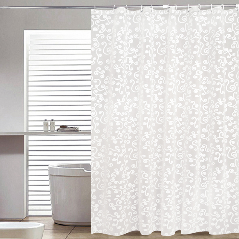 White Mold In Bathroom: Simple Bath Curtain White Geometric Printed Protection