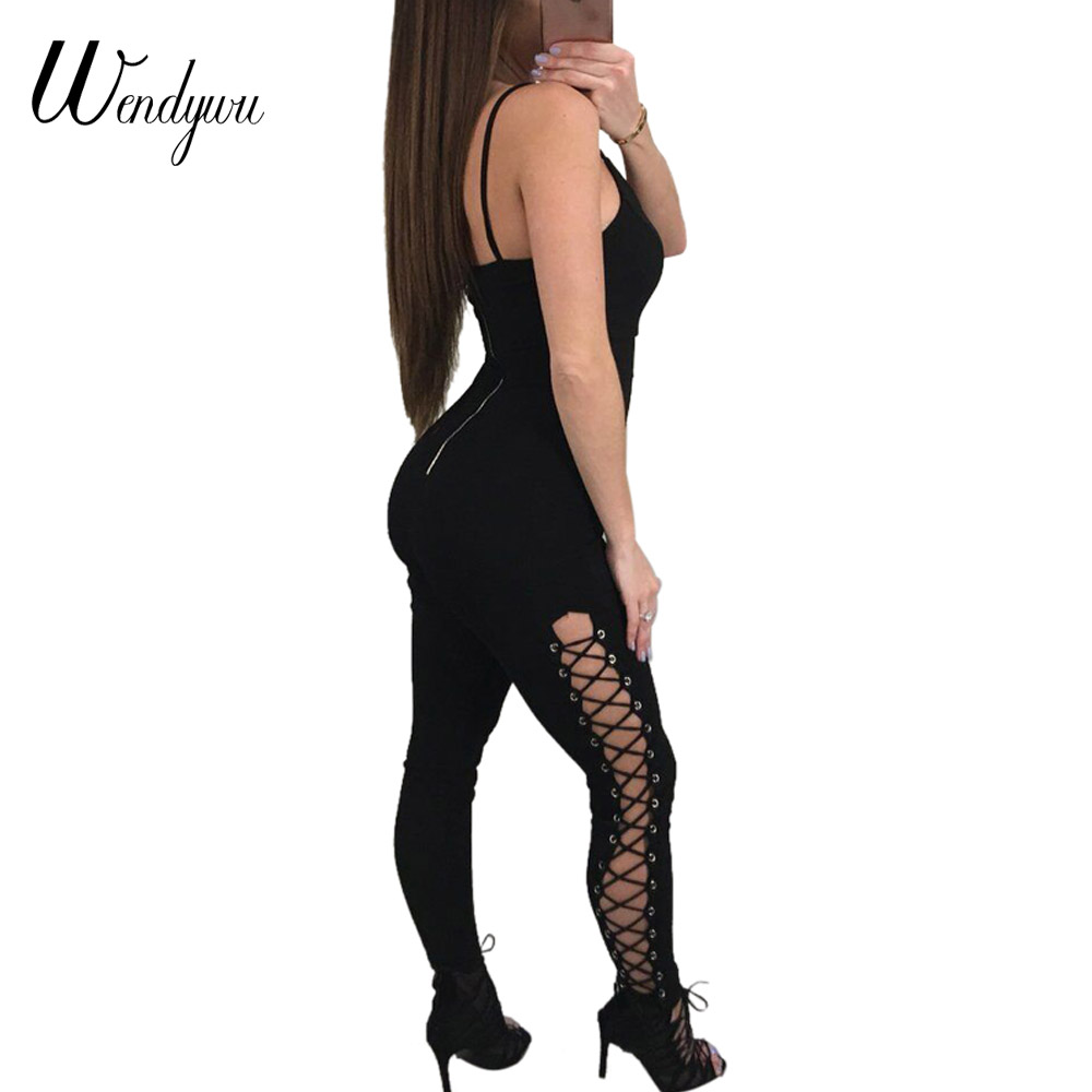Wendywu Free Shipping 2018 New Sexy Side Cross Criss Lace Up Backless Sleeveless Black Party Wholesale Women Bandage Jumpsuit