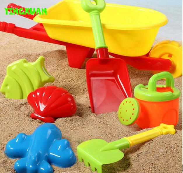 Happyxuan 7 pcs conjunto de brinquedos de praia crianças carrinho de mão de plástico molde pá chaleira de água e areia play ferramenta