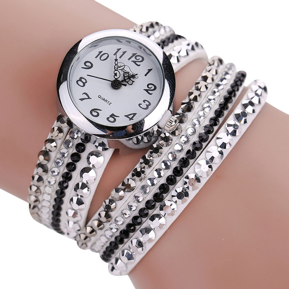 women luxury rhinestone bracelet quartz watch fashion ladies chic minimalist leather wristwatch. Black Bedroom Furniture Sets. Home Design Ideas