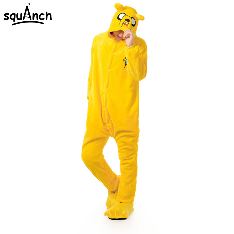 Adventure Time Pajama Jake Dog Costume Sleepwear Cosplay Adult Bodysuit Bed PJ