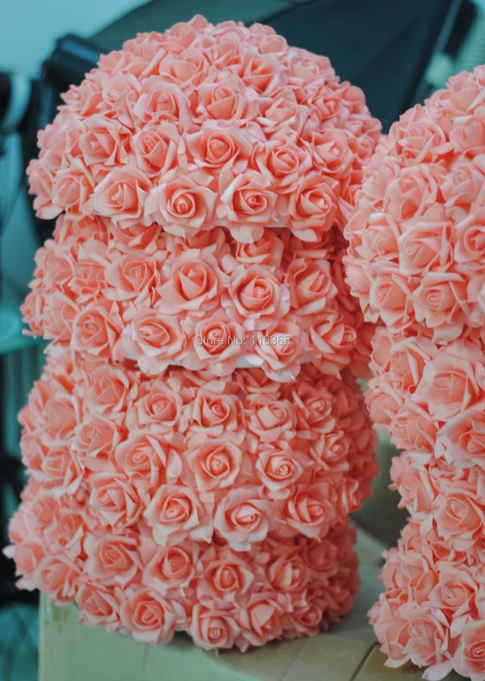 15 38cm 7pcs coral wedding flowers foam rose flower ball decorative coral centerpiece pomander