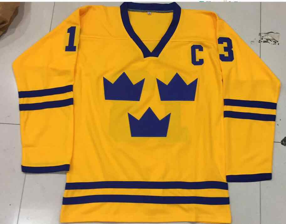 cd5e42337 Vintage Team Sweden Mats Sundin Hockey Jersey Embroidery Stitched Customize  any number and name Jerseys