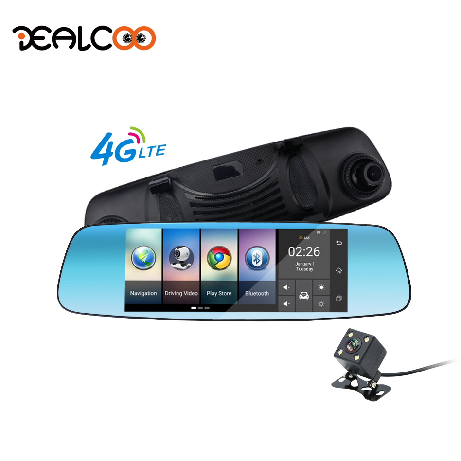 Dealcoo Dash Cam Car DVR Digital Video Recorder Camera 7 Screen Android Rearview Mirror Camera GPS navigation Dual Lens Dashcam