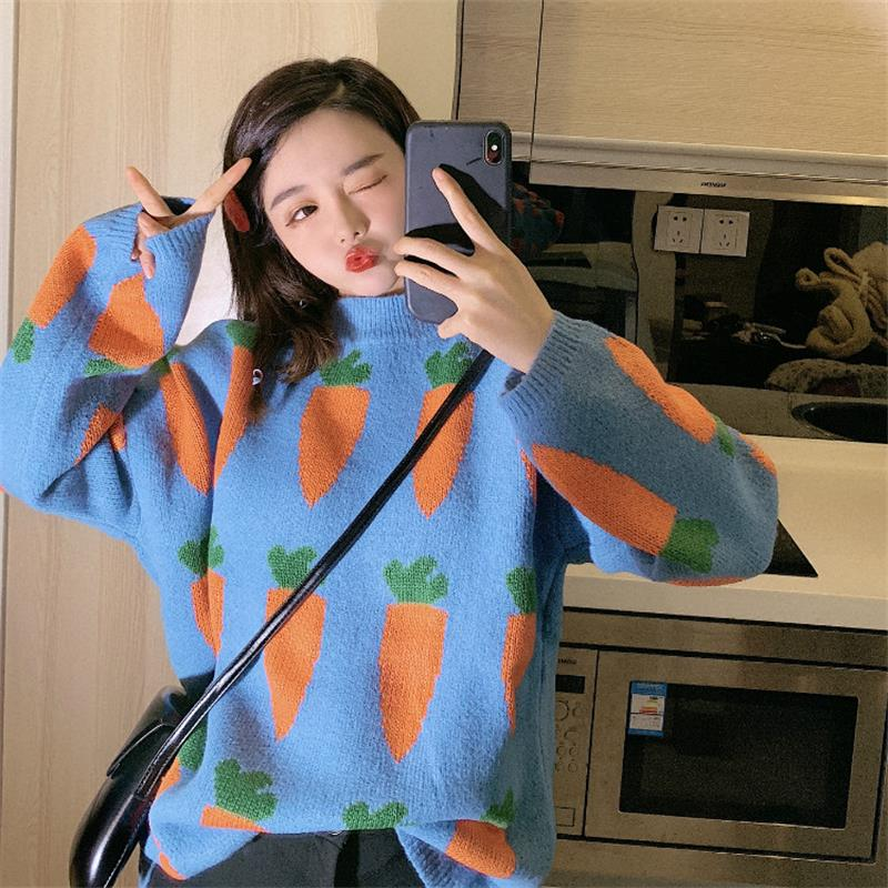 Women's Clothing Cute Kawaii Thick Loose Carrot Embroidery Sweater Lady Harajuku Ulzzang Sweaters For Women Ulzzang Knitted