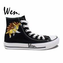 Wen Black Hand Painted Shoes Design Custom Pangolin Pokemon Go Sandslash Pocket Monster High Top Canvas Sneakers for Men Women
