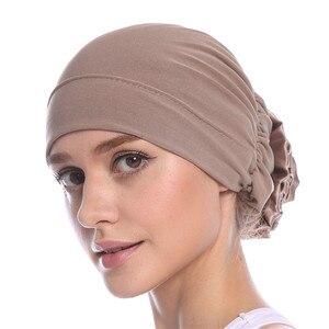 Image 3 - Haimeikang Cotton Women Muslim Stretch Turban Headband Women Flower Hair Bands Chemo Cap Head Wrap Hat Hair Accessories