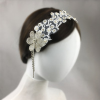 Beaded Bridal Headpiece Wedding Hair Accessories Crystal Embroidered Lace Headband Women Hair Jewelry Bijoux Cheveux WIGO1361