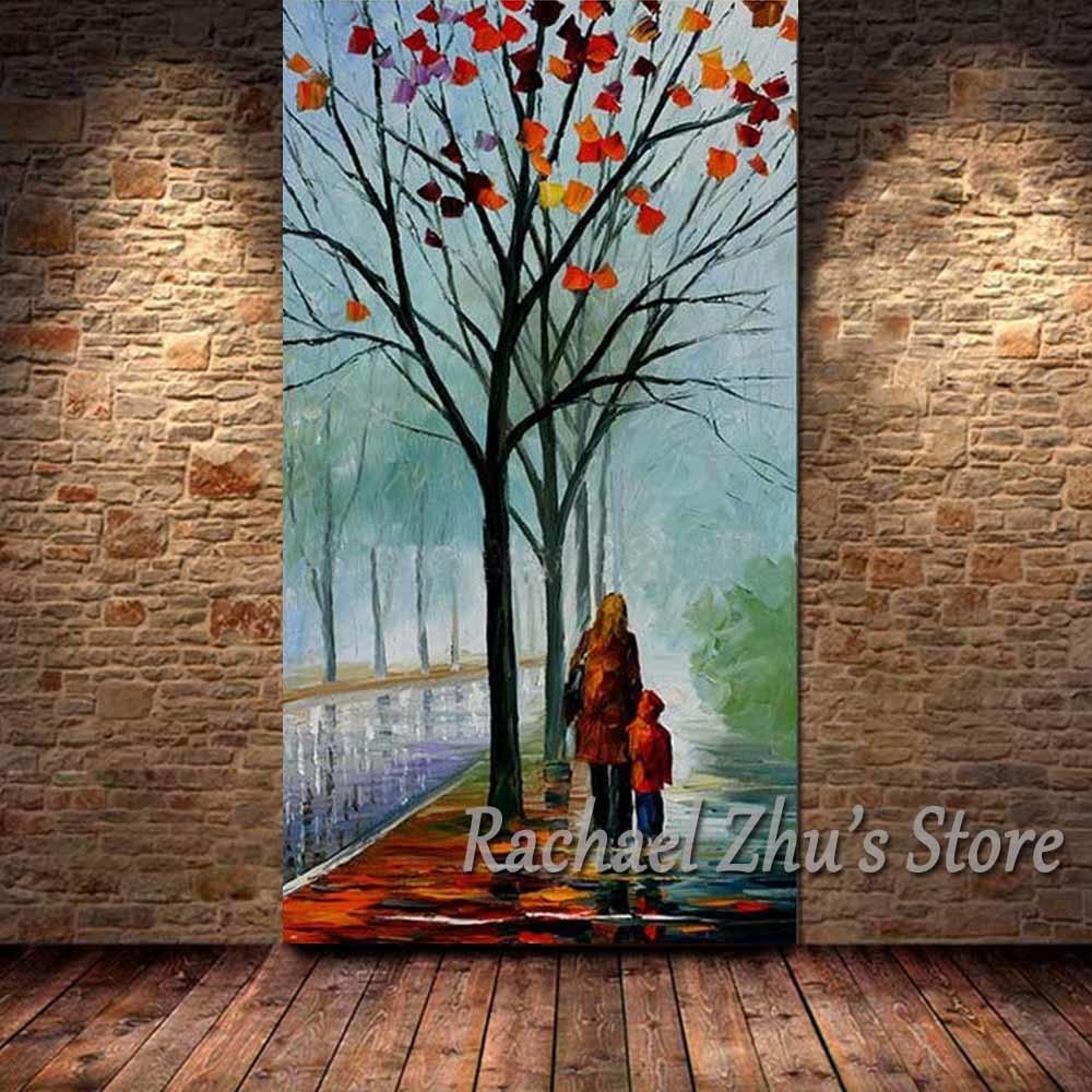 Peint à la main Palette couteau abstrait paysage peinture à l'huile sur toile maman et Son mur photos salon maison mur Art décor