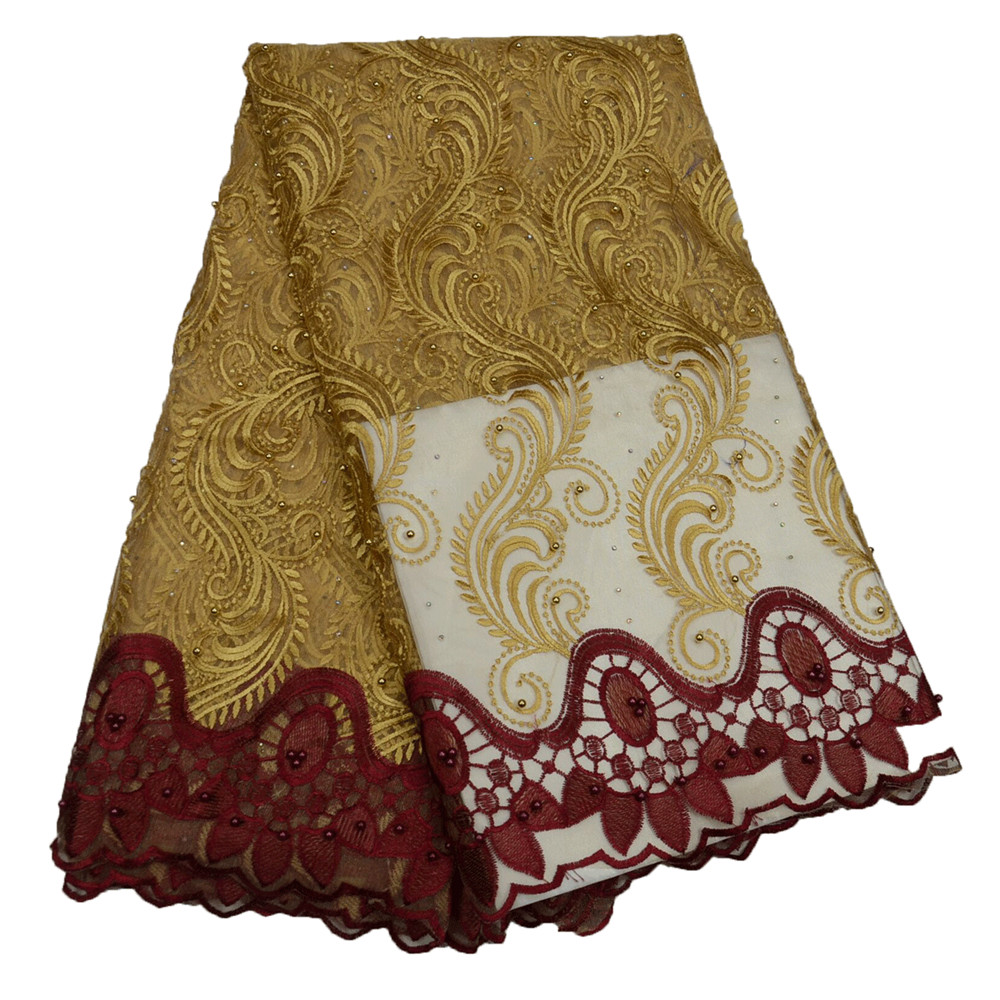Best Selling Gold / Wine French Embroidered Design African Net Lace Beaded Fabric For Nigeria Bridal X495 1